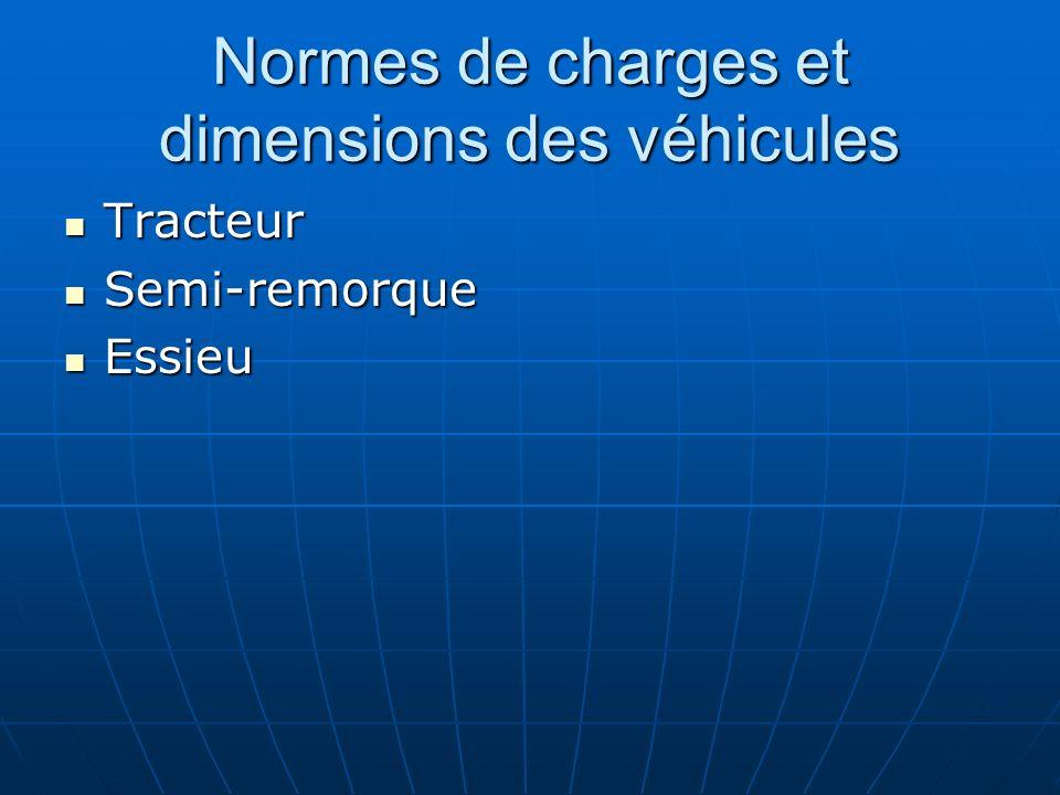 Normes de charges et dimensions des véhicules Tracteur Tracteur Semi-remorque Semi-remorque Essieu Essieu
