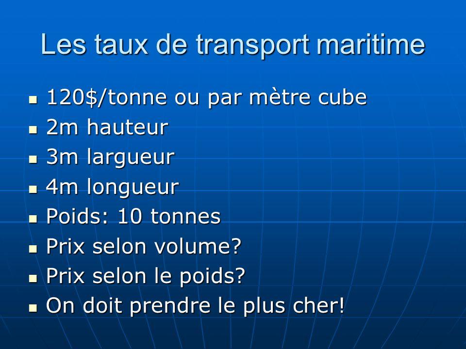 Les taux de transport maritime 120$/tonne ou par mètre cube 120$/tonne ou par mètre cube 2m hauteur 2m hauteur 3m largueur 3m largueur 4m longueur 4m