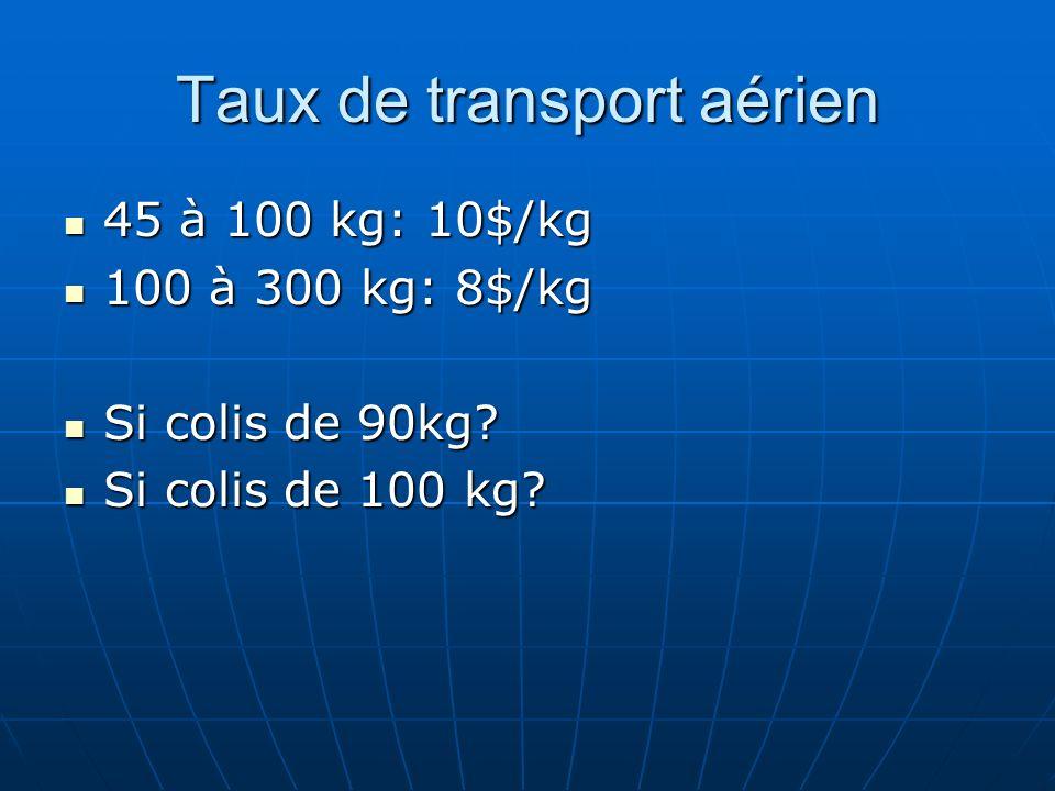 Taux de transport aérien 45 à 100 kg: 10$/kg 45 à 100 kg: 10$/kg 100 à 300 kg: 8$/kg 100 à 300 kg: 8$/kg Si colis de 90kg? Si colis de 90kg? Si colis