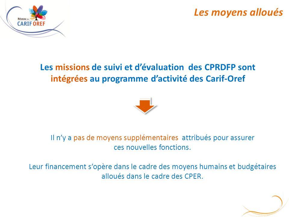 Les moyens alloués Les missions de suivi et dévaluation des CPRDFP sont intégrées au programme dactivité des Carif-Oref Il ny a pas de moyens supplémentaires attribués pour assurer ces nouvelles fonctions.