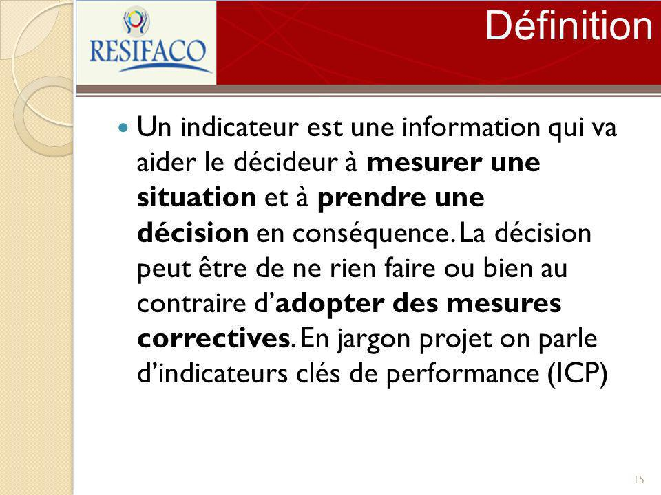 Définition Un indicateur est une information qui va aider le décideur à mesurer une situation et à prendre une décision en conséquence. La décision pe