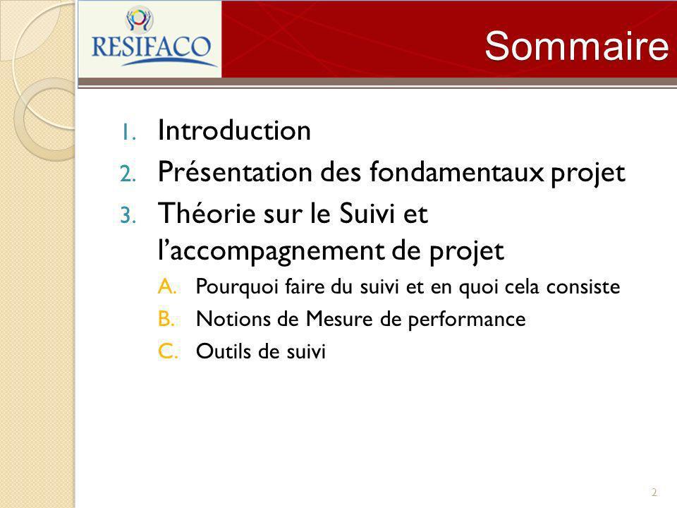 Sommaire 1. Introduction 2. Présentation des fondamentaux projet 3. Théorie sur le Suivi et laccompagnement de projet A.Pourquoi faire du suivi et en