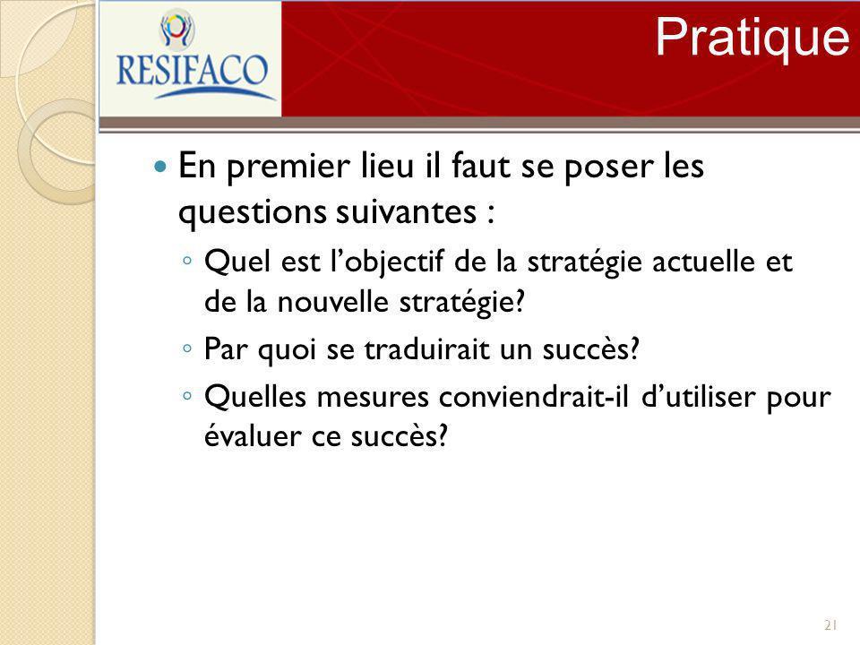 Pratique En premier lieu il faut se poser les questions suivantes : Quel est lobjectif de la stratégie actuelle et de la nouvelle stratégie? Par quoi