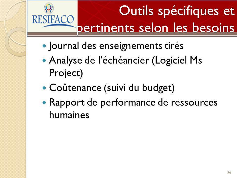 Outils spécifiques et pertinents selon les besoins Journal des enseignements tirés Analyse de léchéancier (Logiciel Ms Project) Coûtenance (suivi du b