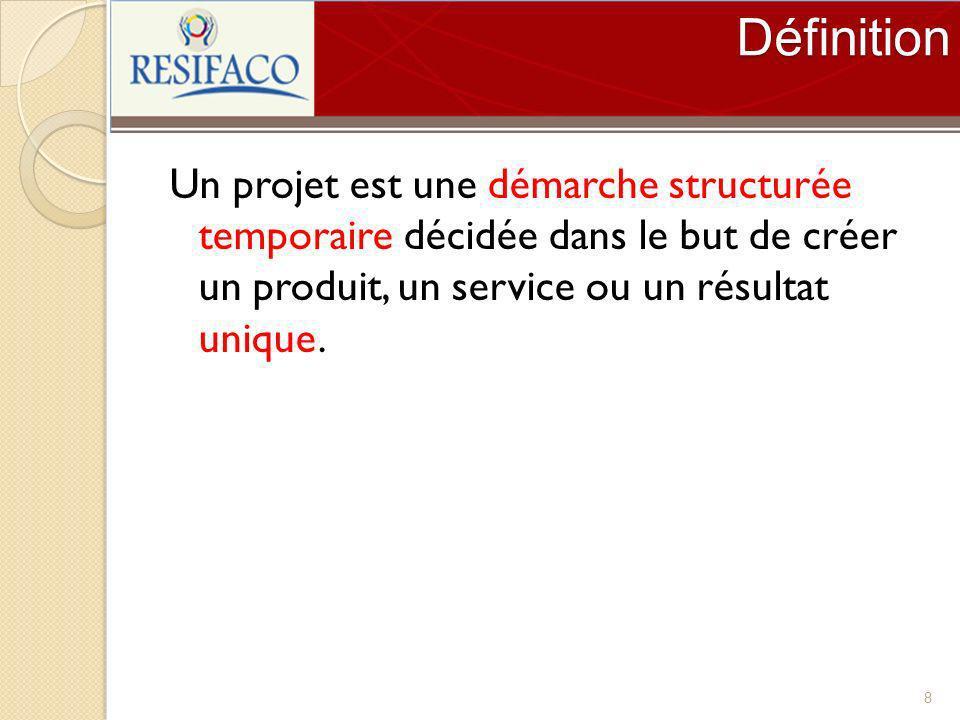 Définition Un projet est une démarche structurée temporaire décidée dans le but de créer un produit, un service ou un résultat unique. 8