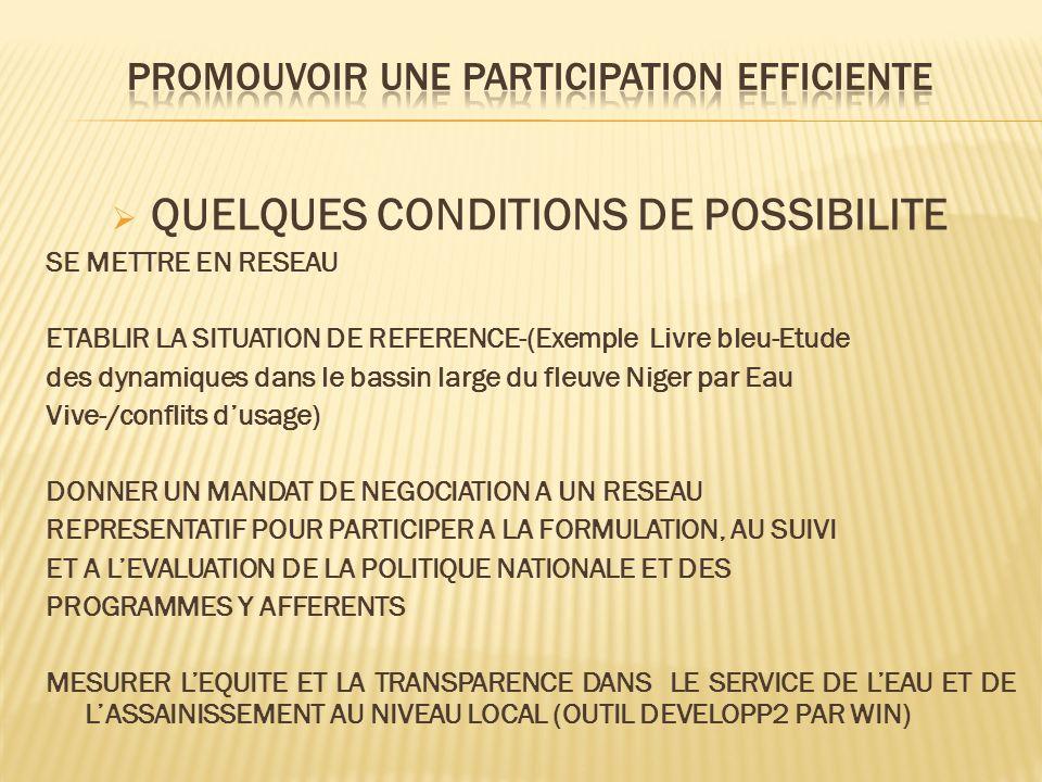 QUELQUES CONDITIONS DE POSSIBILITE SE METTRE EN RESEAU ETABLIR LA SITUATION DE REFERENCE-(Exemple Livre bleu-Etude des dynamiques dans le bassin large du fleuve Niger par Eau Vive-/conflits dusage) DONNER UN MANDAT DE NEGOCIATION A UN RESEAU REPRESENTATIF POUR PARTICIPER A LA FORMULATION, AU SUIVI ET A LEVALUATION DE LA POLITIQUE NATIONALE ET DES PROGRAMMES Y AFFERENTS MESURER LEQUITE ET LA TRANSPARENCE DANS LE SERVICE DE LEAU ET DE LASSAINISSEMENT AU NIVEAU LOCAL (OUTIL DEVELOPP2 PAR WIN)