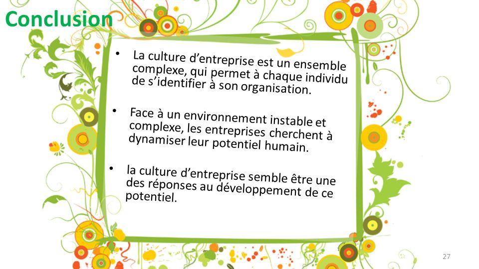 Conclusion La culture dentreprise est un ensemble complexe, qui permet à chaque individu de sidentifier à son organisation.