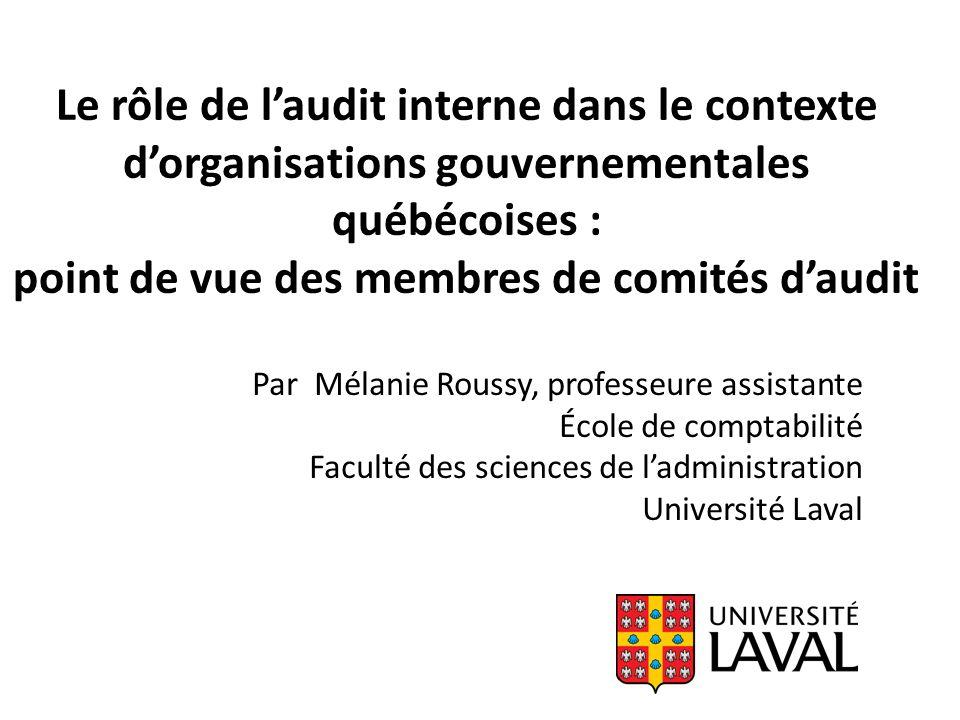 Le rôle de laudit interne dans le contexte dorganisations gouvernementales québécoises : point de vue des membres de comités daudit Par Mélanie Roussy