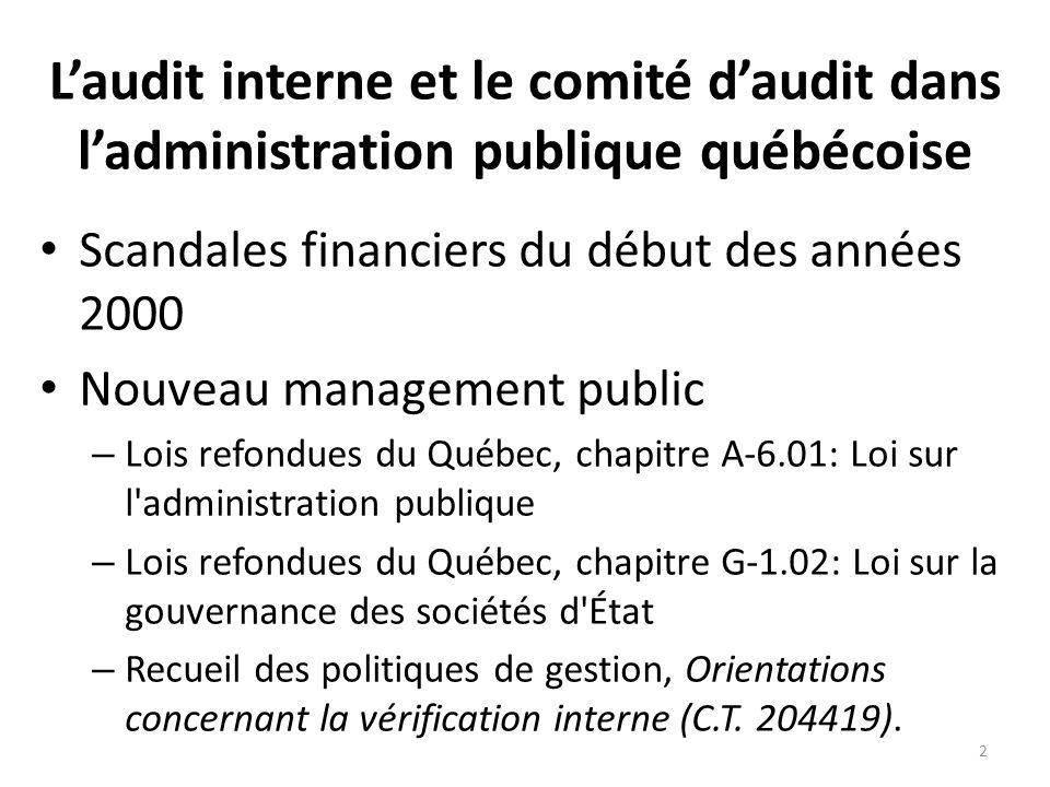Laudit interne et le comité daudit dans ladministration publique québécoise Scandales financiers du début des années 2000 Nouveau management public –