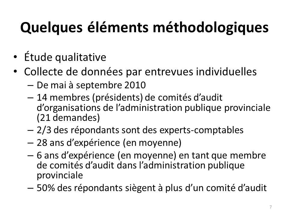Quelques éléments méthodologiques Étude qualitative Collecte de données par entrevues individuelles – De mai à septembre 2010 – 14 membres (présidents