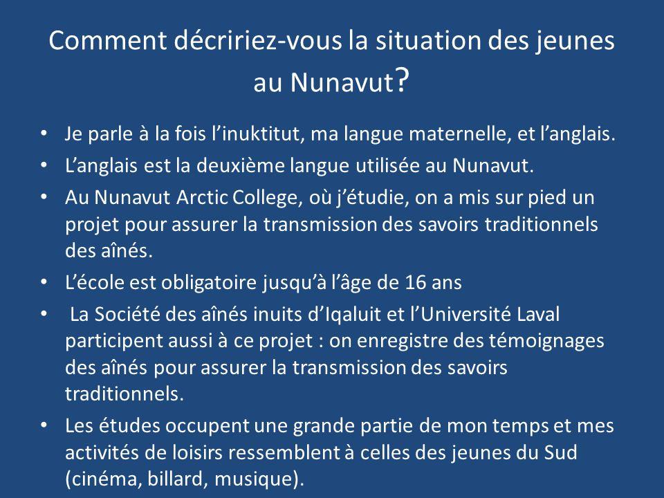 Comment décririez-vous la situation des jeunes au Nunavut .