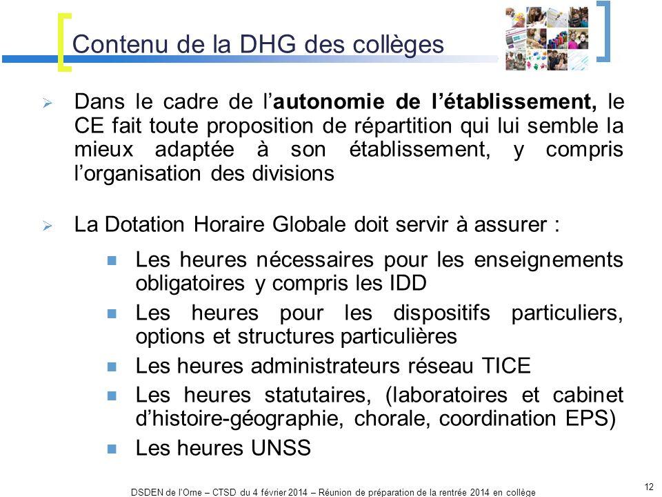Contenu de la DHG des collèges 12 DSDEN de l'Orne – CTSD du 4 février 2014 – Réunion de préparation de la rentrée 2014 en collège Dans le cadre de lau