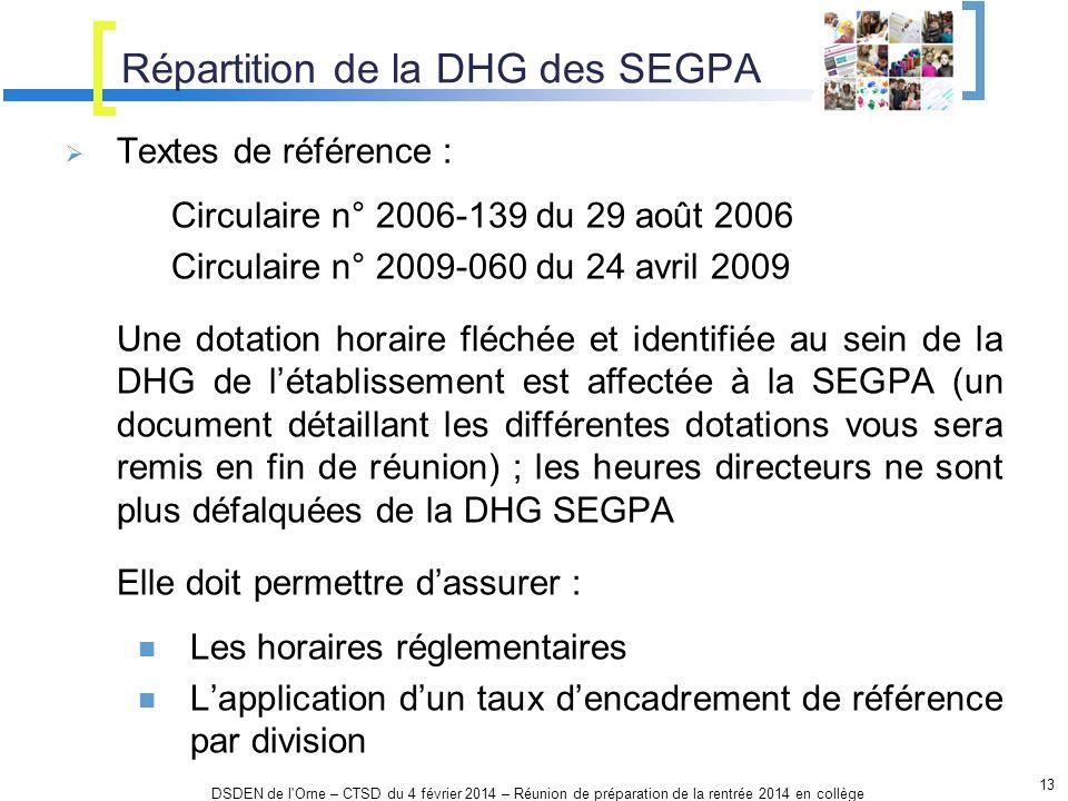 Répartition de la DHG des SEGPA 13 DSDEN de l'Orne – CTSD du 4 février 2014 – Réunion de préparation de la rentrée 2014 en collège Textes de référence