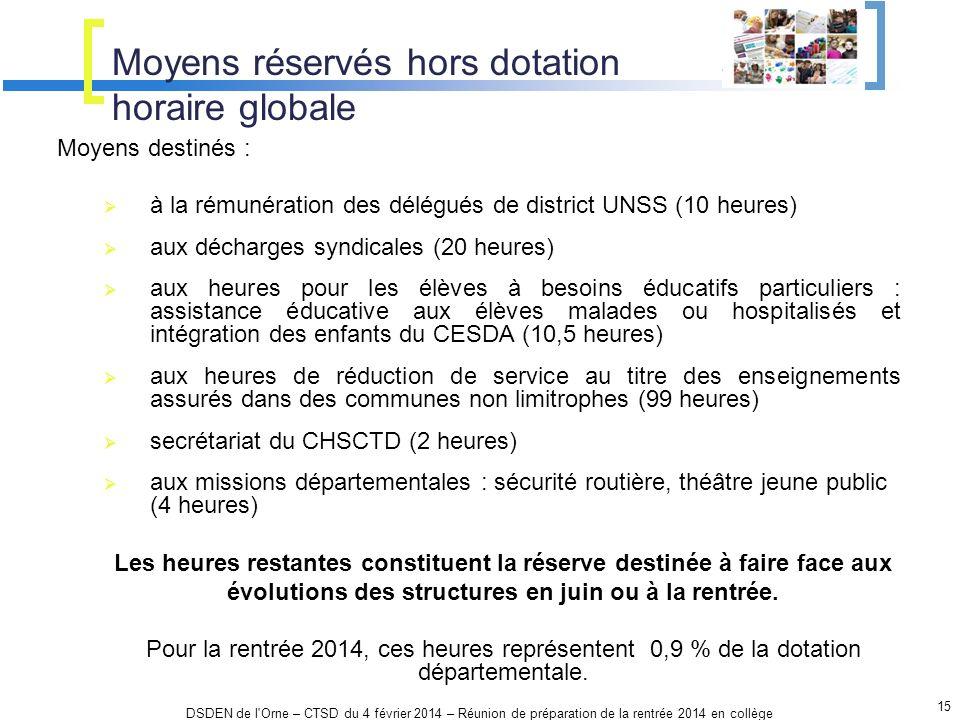 Moyens réservés hors dotation horaire globale 15 DSDEN de l'Orne – CTSD du 4 février 2014 – Réunion de préparation de la rentrée 2014 en collège Moyen