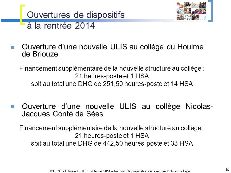 16 DSDEN de l'Orne – CTSD du 4 février 2014 – Réunion de préparation de la rentrée 2014 en collège Ouvertures de dispositifs à la rentrée 2014 Ouvertu