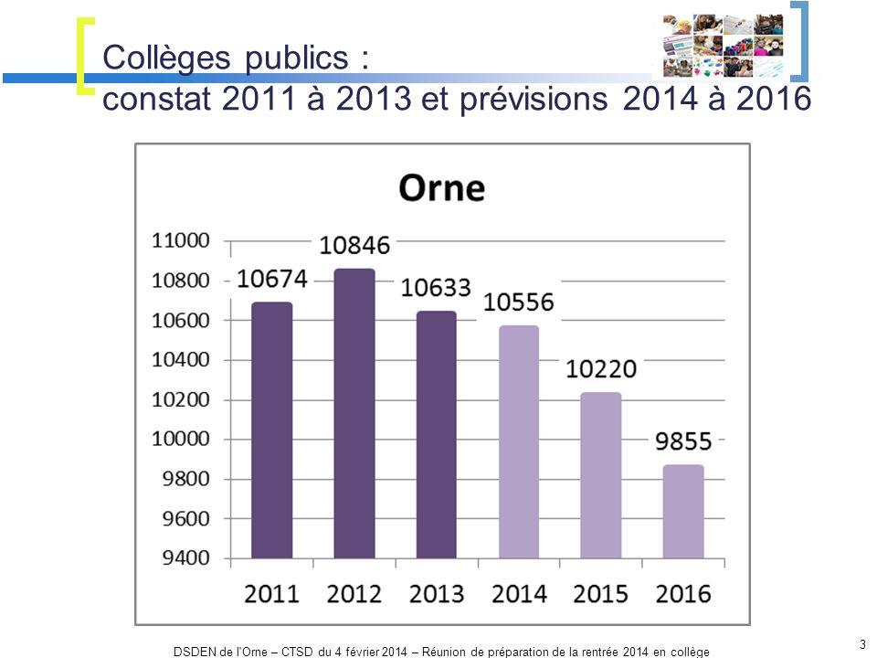 Collèges publics : constat 2011 à 2013 et prévisions 2014 à 2016 3 DSDEN de l'Orne – CTSD du 4 février 2014 – Réunion de préparation de la rentrée 201