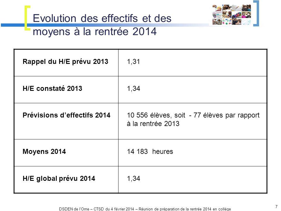Evolution des effectifs et des moyens à la rentrée 2014 7 DSDEN de l'Orne – CTSD du 4 février 2014 – Réunion de préparation de la rentrée 2014 en coll