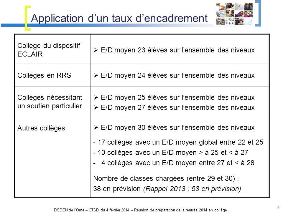Application dun taux dencadrement 9 DSDEN de l'Orne – CTSD du 4 février 2014 – Réunion de préparation de la rentrée 2014 en collège Collège du disposi