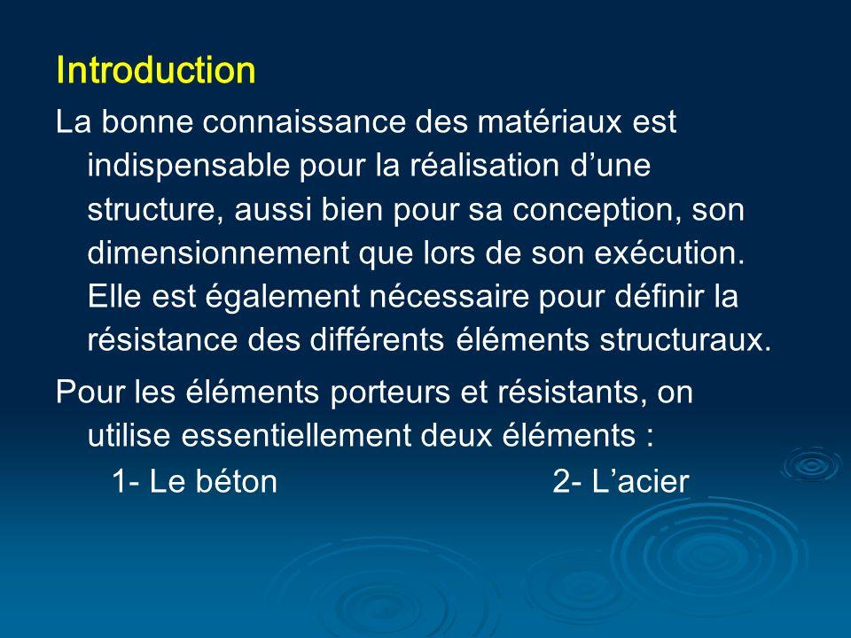 Introduction La bonne connaissance des matériaux est indispensable pour la réalisation dune structure, aussi bien pour sa conception, son dimensionnement que lors de son exécution.
