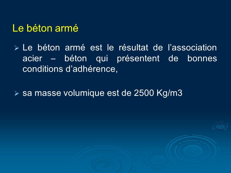 Le béton armé Le béton armé est le résultat de lassociation acier – béton qui présentent de bonnes conditions dadhérence, sa masse volumique est de 2500 Kg/m3