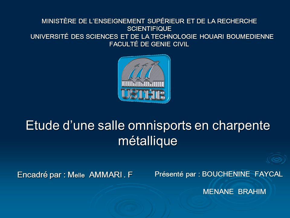 Etude dune salle omnisports en charpente métallique Encadré par : M elle AMMARI.