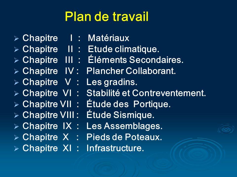 Chapitre I : Matériaux Chapitre II : Etude climatique. Chapitre III : Éléments Secondaires. Chapitre IV : Plancher Collaborant. Chapitre V : Les gradi