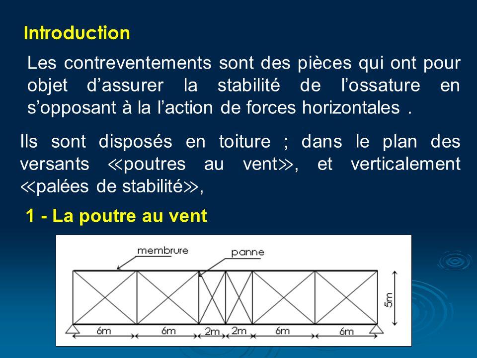 Introduction Les contreventements sont des pièces qui ont pour objet dassurer la stabilité de lossature en sopposant à la laction de forces horizontales.