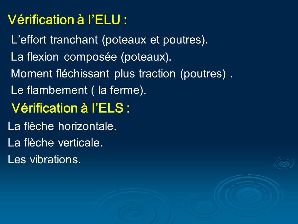 Vérification à lELU : Leffort tranchant (poteaux et poutres). La flexion composée (poteaux). Moment fléchissant plus traction (poutres). Le flambement