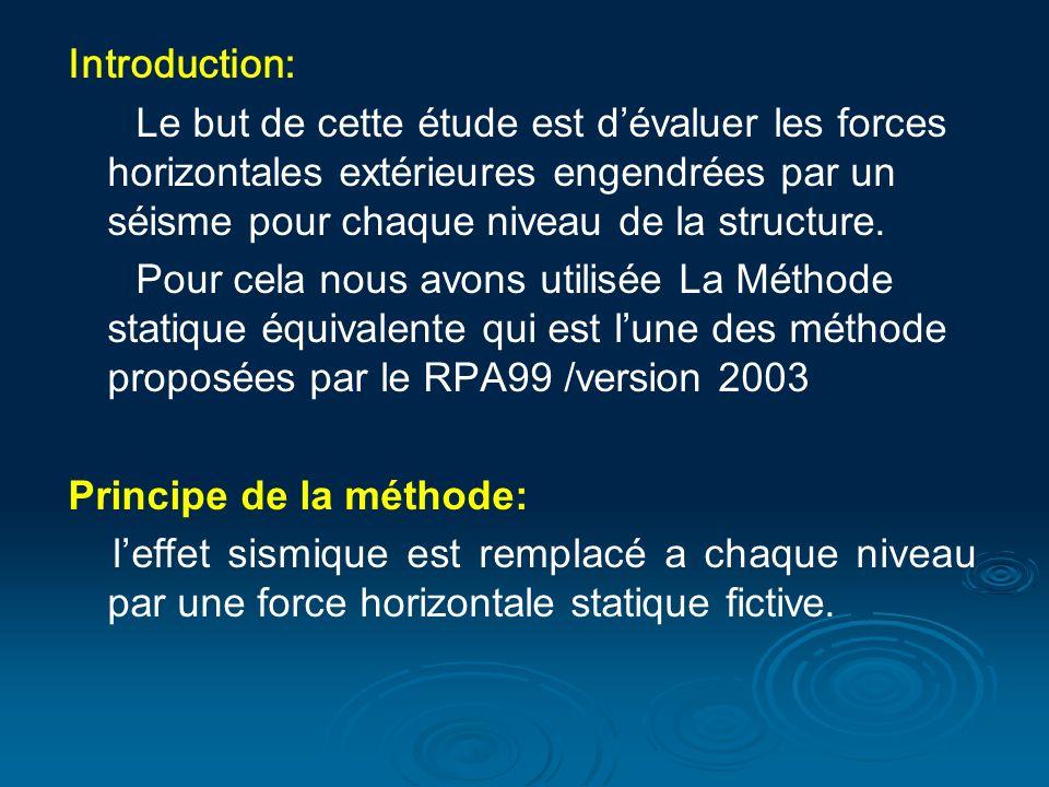 Introduction: Le but de cette étude est dévaluer les forces horizontales extérieures engendrées par un séisme pour chaque niveau de la structure.