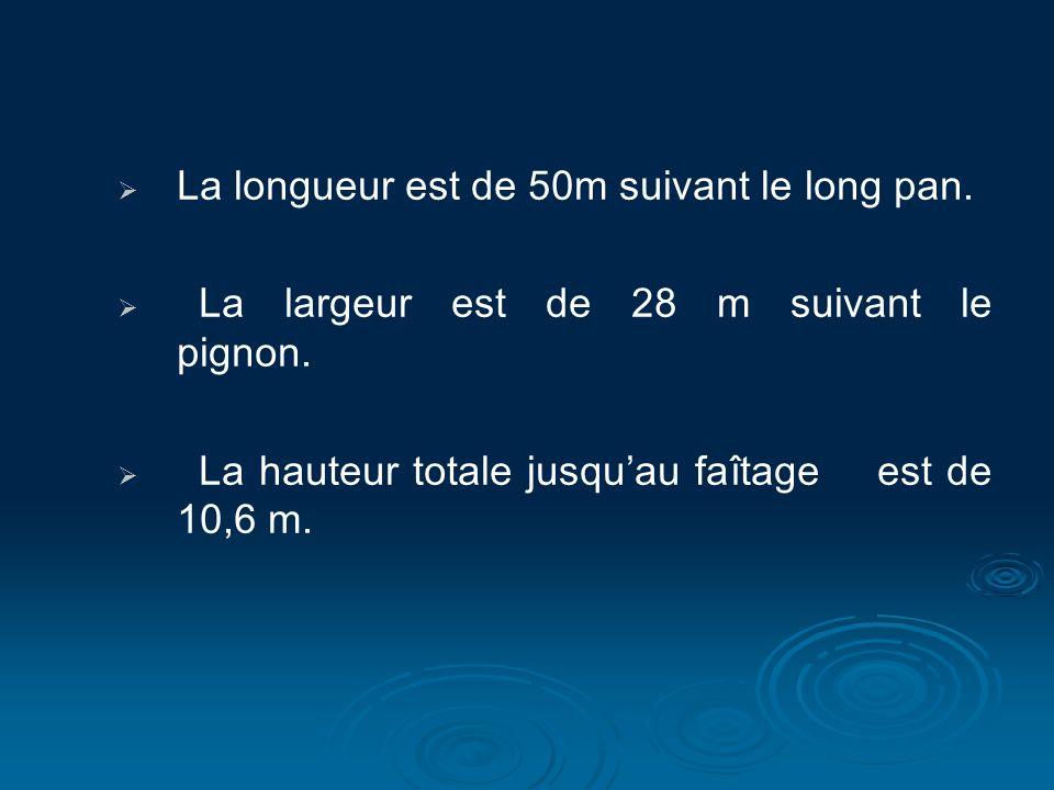La longueur est de 50m suivant le long pan. La largeur est de 28 m suivant le pignon. La hauteur totale jusquau faîtage est de 10,6 m.