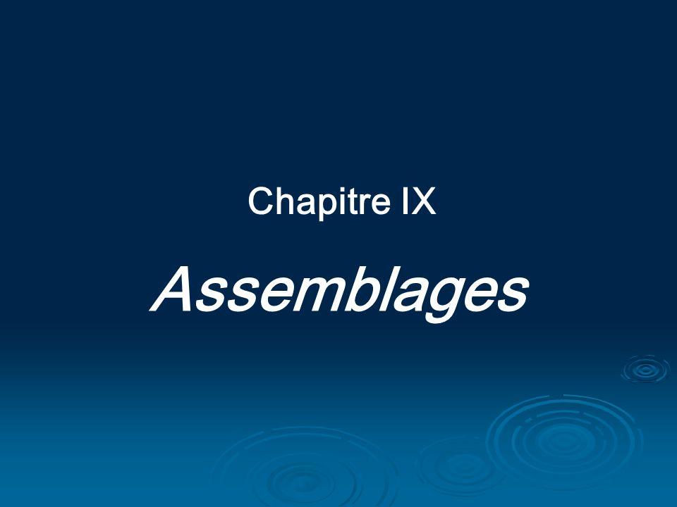 Chapitre IX Assemblages