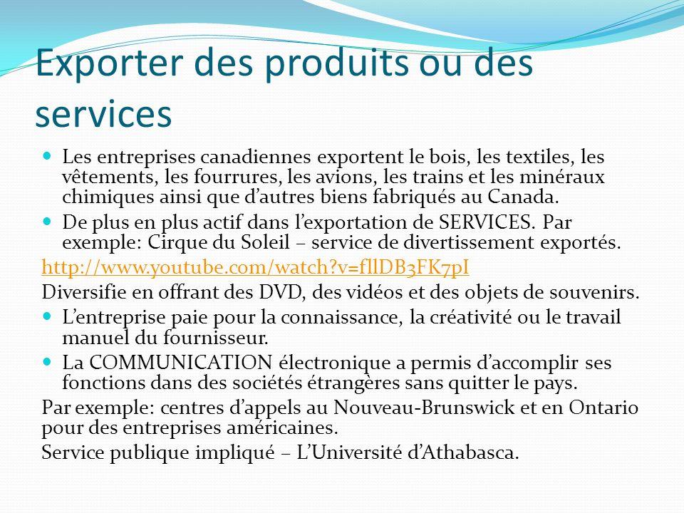 Exporter des produits ou des services Les entreprises canadiennes exportent le bois, les textiles, les vêtements, les fourrures, les avions, les trains et les minéraux chimiques ainsi que dautres biens fabriqués au Canada.