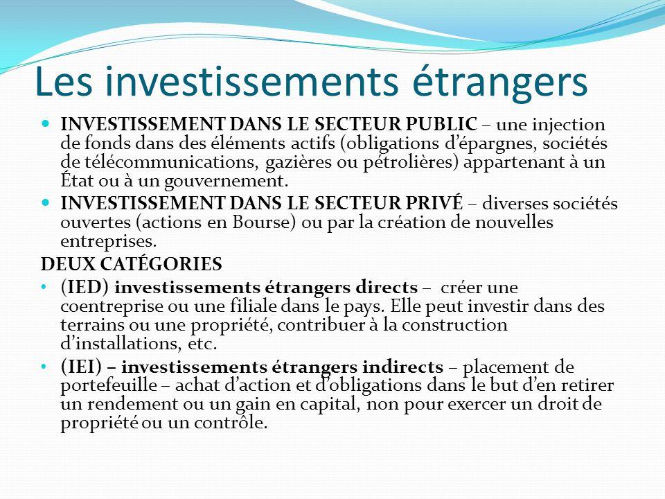 Les investissements étrangers INVESTISSEMENT DANS LE SECTEUR PUBLIC – une injection de fonds dans des éléments actifs (obligations dépargnes, sociétés de télécommunications, gazières ou pétrolières) appartenant à un État ou à un gouvernement.