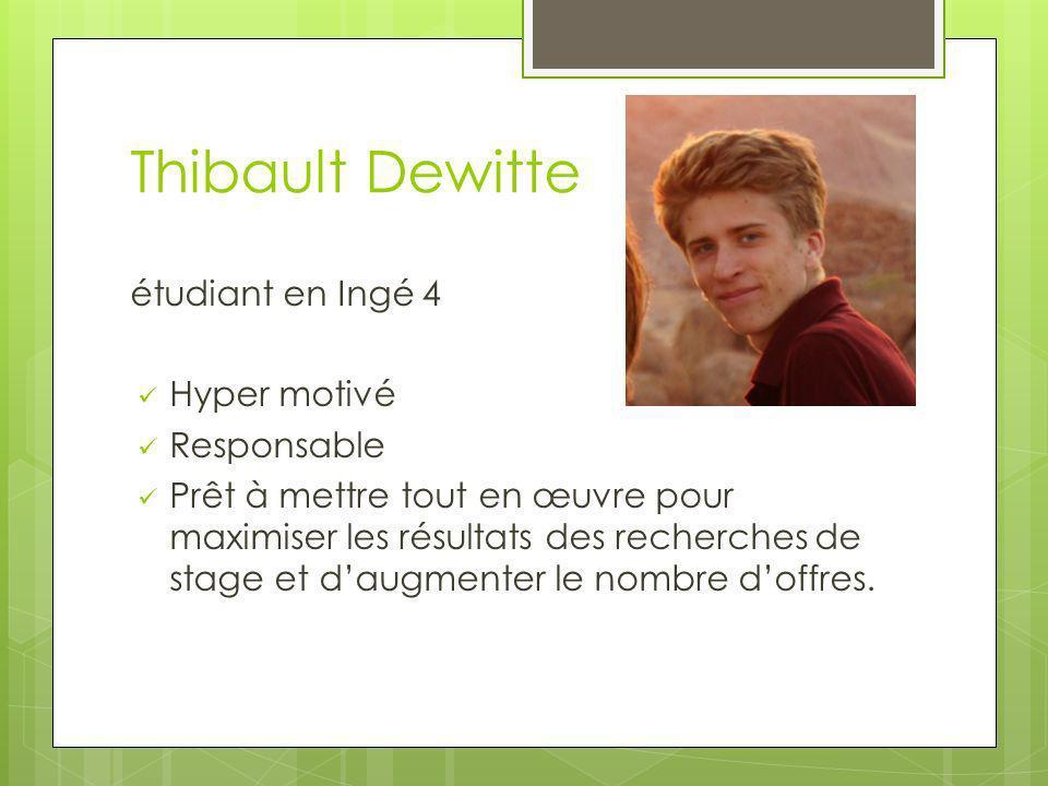 Thibault Dewitte étudiant en Ingé 4 Hyper motivé Responsable Prêt à mettre tout en œuvre pour maximiser les résultats des recherches de stage et daugm