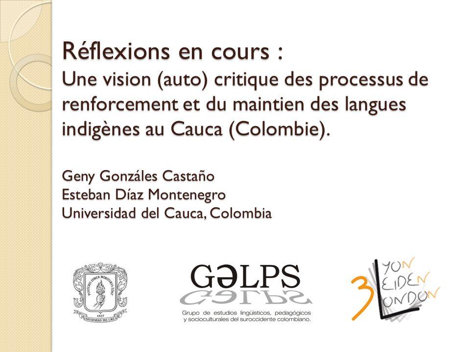 Réflexions en cours : Une vision (auto) critique des processus de renforcement et du maintien des langues indigènes au Cauca (Colombie).