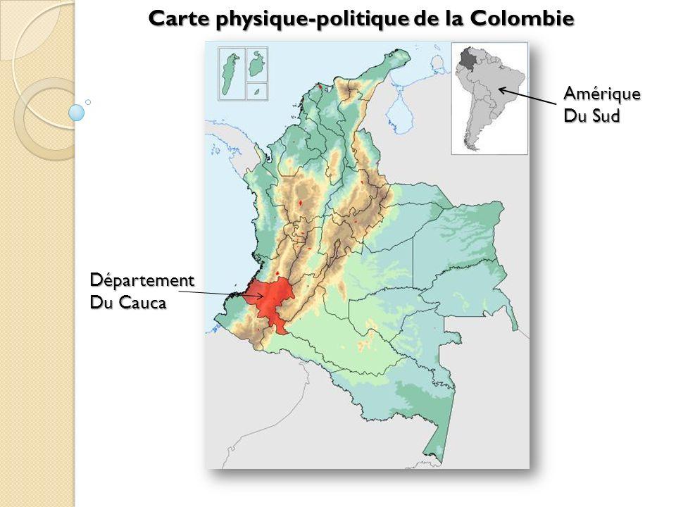 Carte physique-politique de la Colombie Amérique Du Sud Département Du Cauca