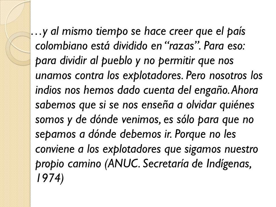 …y al mismo tiempo se hace creer que el país colombiano está dividido en razas.