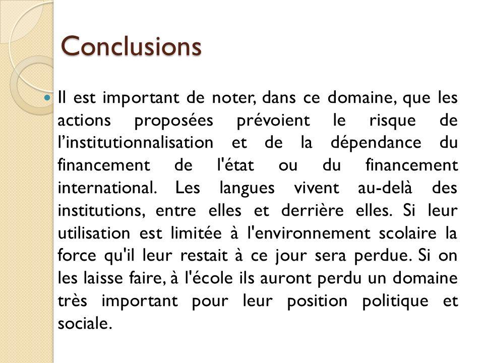 Conclusions Il est important de noter, dans ce domaine, que les actions proposées prévoient le risque de linstitutionnalisation et de la dépendance du financement de l état ou du financement international.