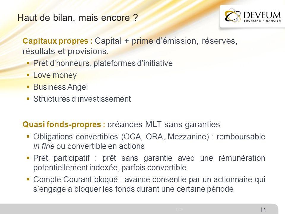 I Haut de bilan, mais encore ? LCE 3 Capitaux propres : Capital + prime démission, réserves, résultats et provisions. Prêt dhonneurs, plateformes dini