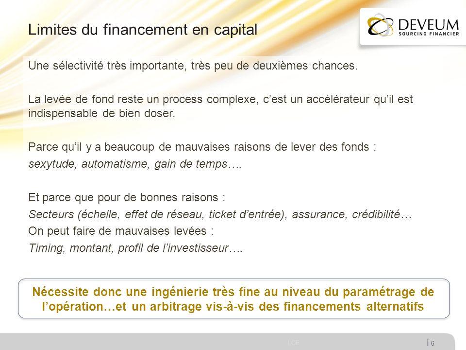 I Limites du financement en capital LCE 6 Une sélectivité très importante, très peu de deuxièmes chances. La levée de fond reste un process complexe,