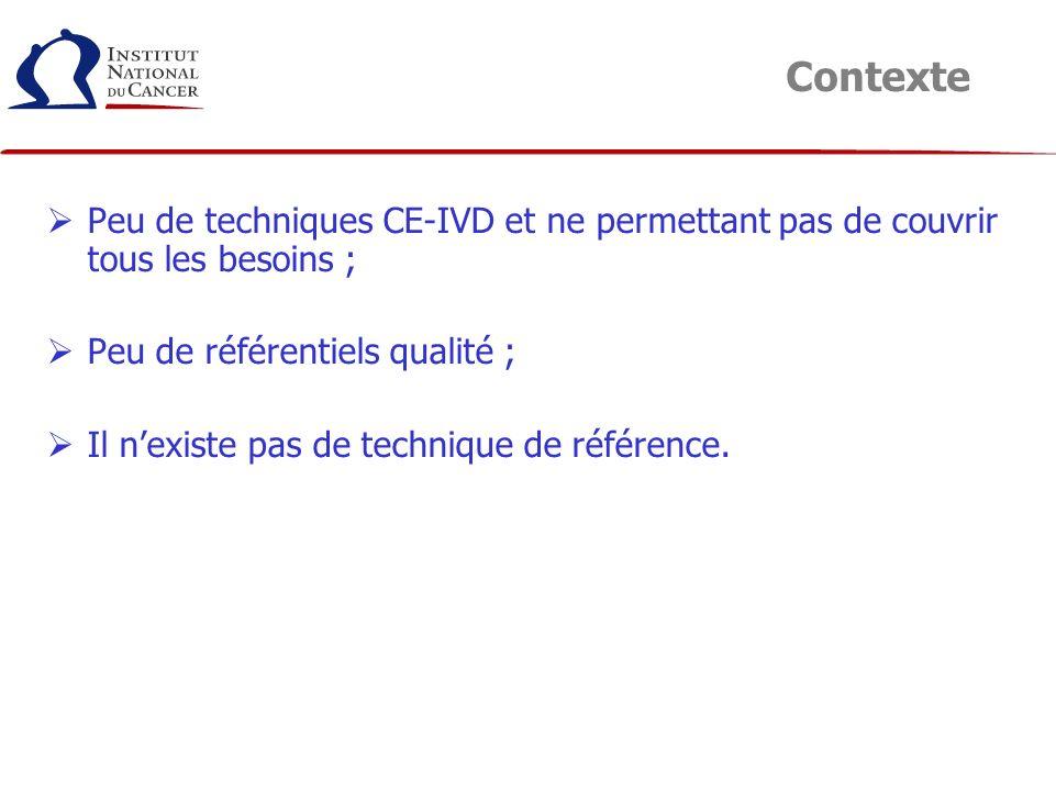 Peu de techniques CE-IVD et ne permettant pas de couvrir tous les besoins ; Peu de référentiels qualité ; Il nexiste pas de technique de référence. Co