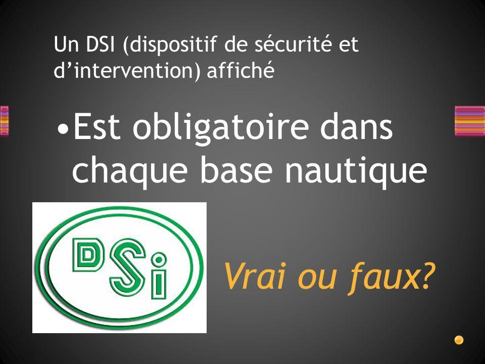 Un DSI (dispositif de sécurité et dintervention) affiché Est obligatoire dans chaque base nautique Vrai ou faux?