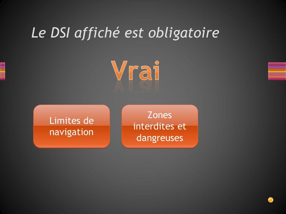 Le DSI affiché est obligatoire Limites de navigation Zones interdites et dangreuses