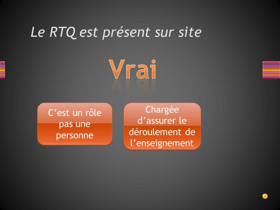 Le RTQ est présent sur site Cest un rôle pas une personne Chargée dassurer le déroulement de lenseignement