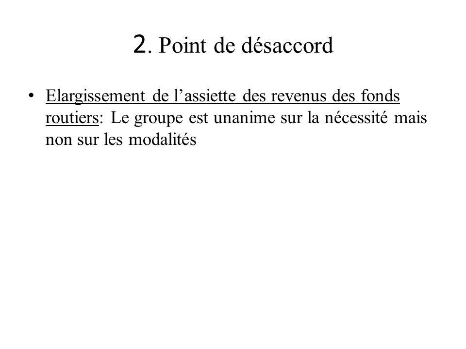 2. Point de désaccord Elargissement de lassiette des revenus des fonds routiers: Le groupe est unanime sur la nécessité mais non sur les modalités
