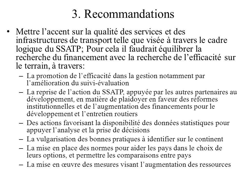 3. Recommandations Mettre laccent sur la qualité des services et des infrastructures de transport telle que visée à travers le cadre logique du SSATP;