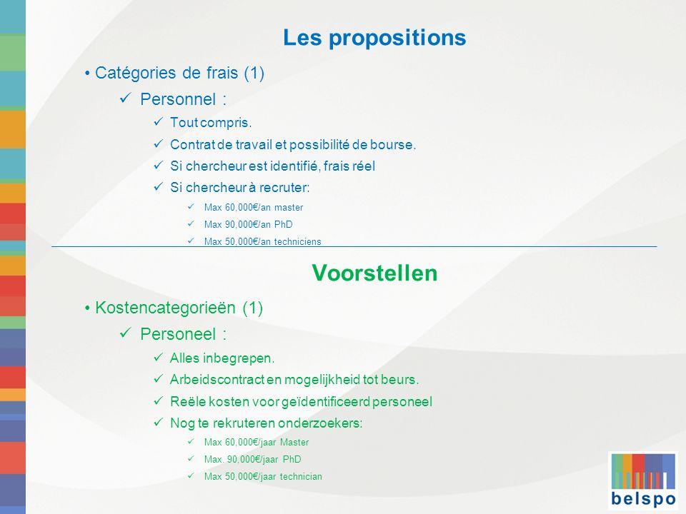 Les propositions Catégories de frais (1) Personnel : Tout compris. Contrat de travail et possibilité de bourse. Si chercheur est identifié, frais réel