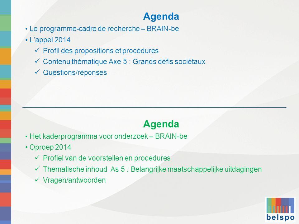 Agenda Le programme-cadre de recherche – BRAIN-be Lappel 2014 Profil des propositions et procédures Contenu thématique Axe 5 : Grands défis sociétaux