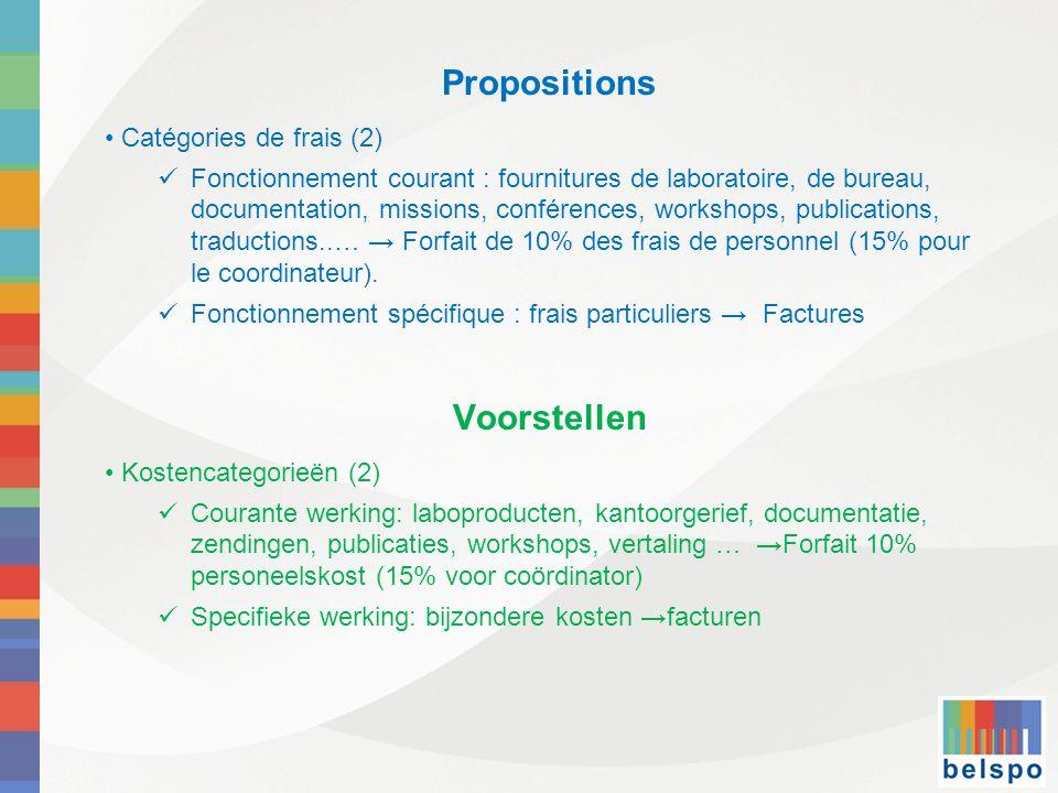 Propositions Catégories de frais (2) Fonctionnement courant : fournitures de laboratoire, de bureau, documentation, missions, conférences, workshops,