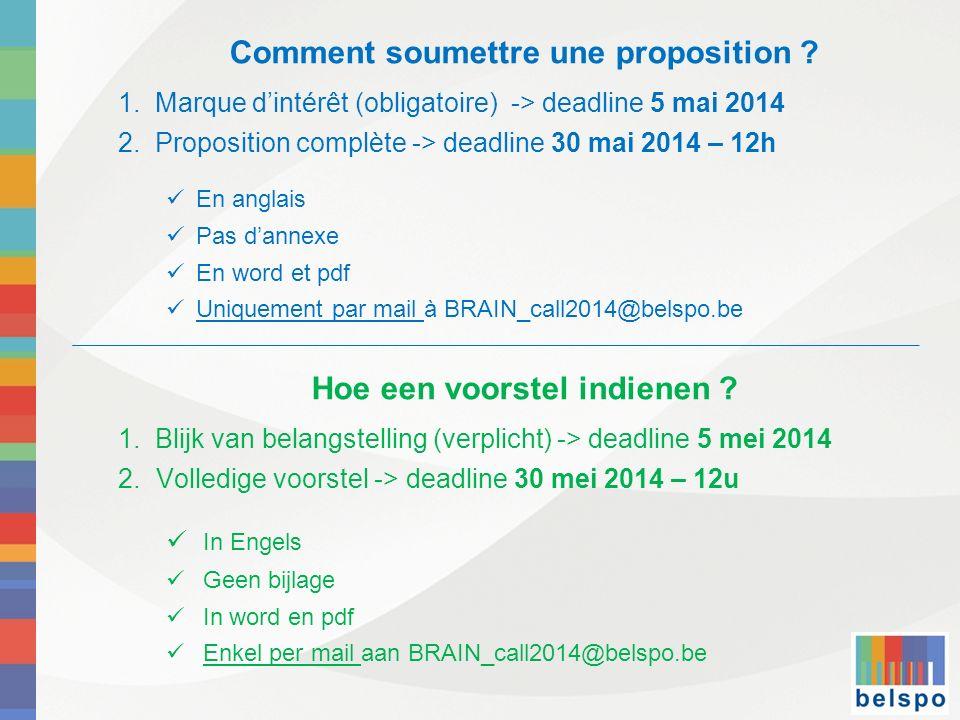 Comment soumettre une proposition ? 1. Marque dintérêt (obligatoire) -> deadline 5 mai 2014 2. Proposition complète -> deadline 30 mai 2014 – 12h En a